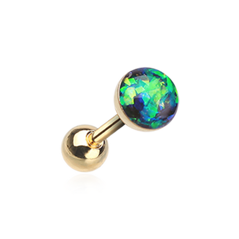 Golden Green Opal Sparkle Cartilage Tragus Helix Earring 16ga Surgical Steel - BodyDazzle