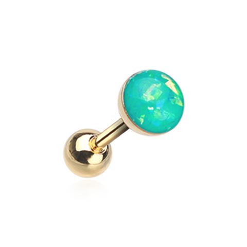 Golden Teal Opal Sparkle Cartilage Tragus Helix Earring 16ga Surgical Steel - BodyDazzle