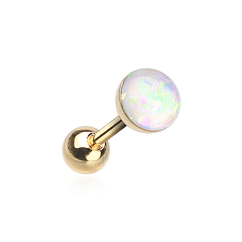 Golden White Opal Sparkle Cartilage Tragus Helix Earring 16ga Surgical Steel - BodyDazzle
