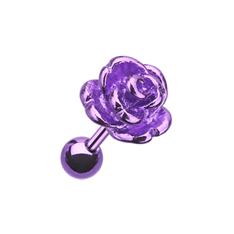 Purple Vintage Steel Rose Cartilage Tragus Earring 16ga Surgical Steel - BodyDazzle