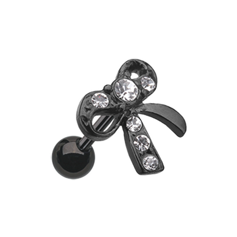 Blackline Lacy Bow-Tie Cartilage Tragus Helix Earring 18ga Body Jewelry - BodyDazzle