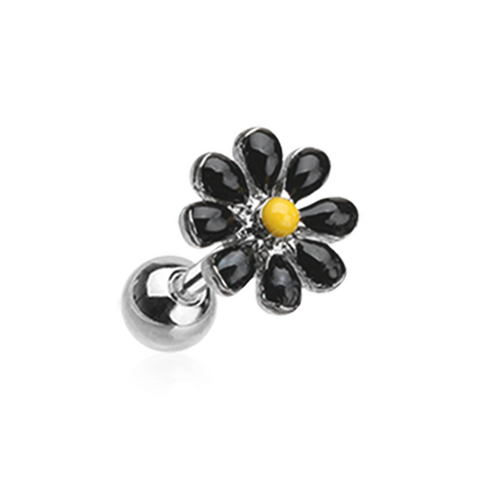 Black Spring Blossom Flower Daisy  Cartilage Tragus Earring 18ga Stainless Steel - BodyDazzle