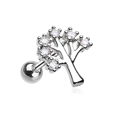 The Tree of Life Sparkle Cartilage Helix Tragus Earring 18ga Surgical Steel Body Jewelry - BodyDazzle
