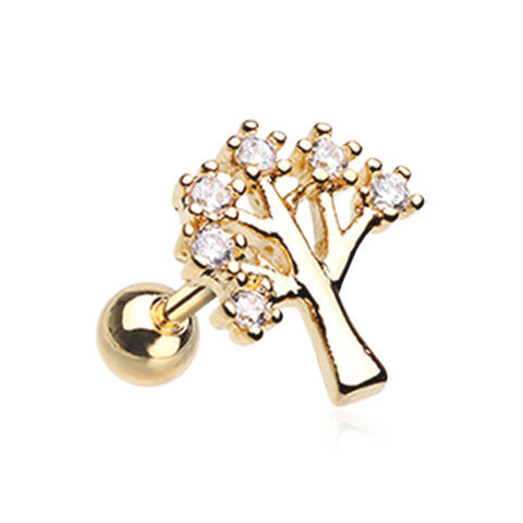 Golden Tree of Life Sparkle Cartilage Helix Tragus Earring 18ga Surgical Steel Body Jewelry - BodyDazzle