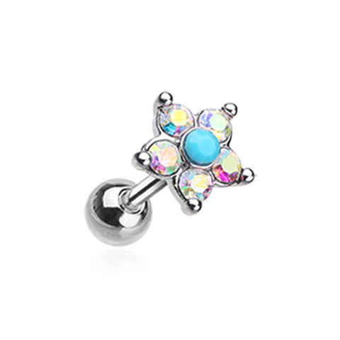 Starburst Turquoise Sparkle Flower Cartilage Tragus Helix 18ga Surgical Steel - BodyDazzle