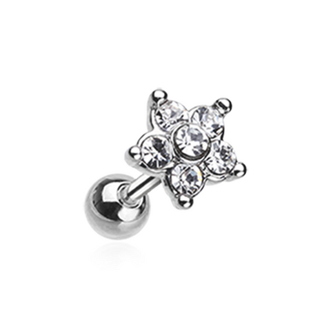 Starburst Sparkle Flower Cartilage Tragus Helix Earring 18ga Body Jewelry - BodyDazzle