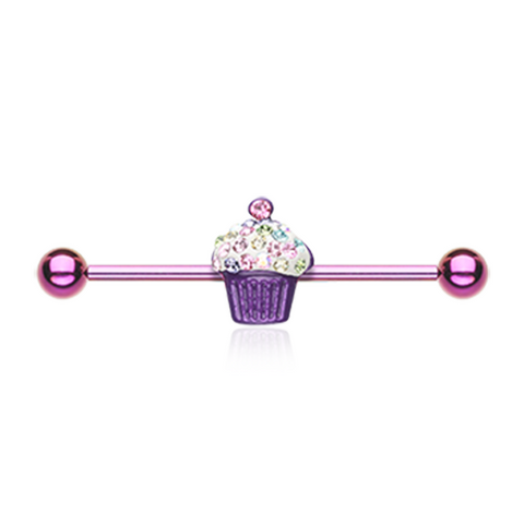 Cupcake Delight Multi-Gem Industrial Barbell 14ga Surgical Stainless Body Jewelry - BodyDazzle
