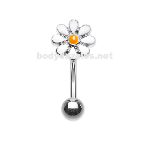 Dainty Daisy Enamel Curved Barbell Eyebrow Ring Rook Daith Ring 16ga Body Jewelry - BodyDazzle