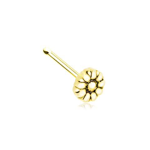 Golden Daisy Flower Silver Nose Stud Ring Nose Bone 20ga Body Jewelry - BodyDazzle