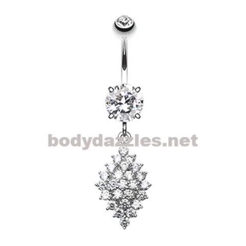 Vibrant Sparkle Diamond Crystals Belly Button Ring Navel Ring 14ga Surgical Steel