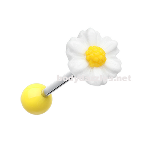 Adorable Daisy Acrylic Barbell Tongue Ring  14ga Surgical Steel - BodyDazzle