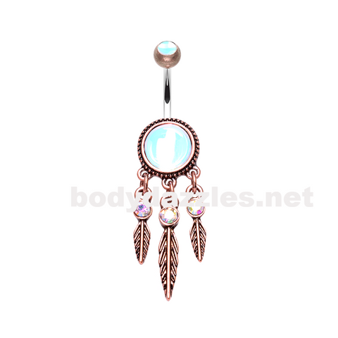 Bronze Antique Legend Dreamcatcher Belly Button Ring 14ga Navel Ring - BodyDazzle