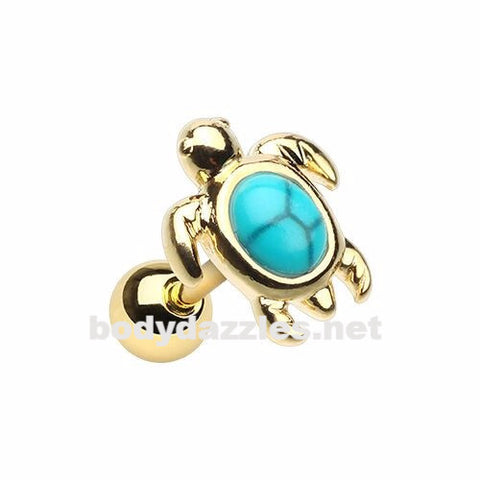 Golden Wild Marine  Turquoise Stone Turtle Cartilage Helix Tragus Earring 18ga Body Jewelry