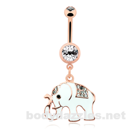 White Good Luck Ganesh Rose Gold Elephant Belly Button Ring 14ga Navel Ring Body Jewelry - BodyDazzle