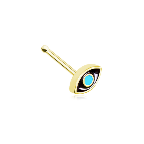 Golden Evil Nose Stud Ring Nose Bone 20ga Body Jewelry - BodyDazzle