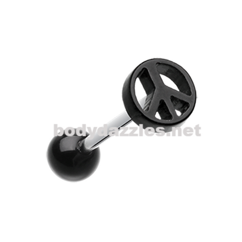 Peace Sign Acrylic Barbell Tongue Ring 14ga Surgical Steel