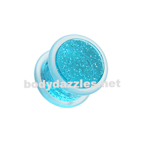 Pair Of Blue Glitter Shimmer Acrylic Ear Gauge Plug Body Jewelry - BodyDazzle