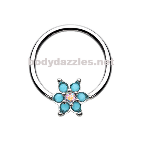 Turquoise Spring Flower Sparkle Steel Captive Bead Ring 16ga 14ga Belly Ring Cartilage Tragus Daith Helix Rook