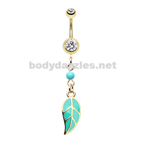 Gold Leaf Turquoise Belly Button Ring Belly Button Navel Ring 14ga