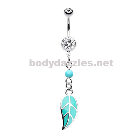 Leaf Turquoise Belly Button Ring Belly Button Navel Ring 14ga