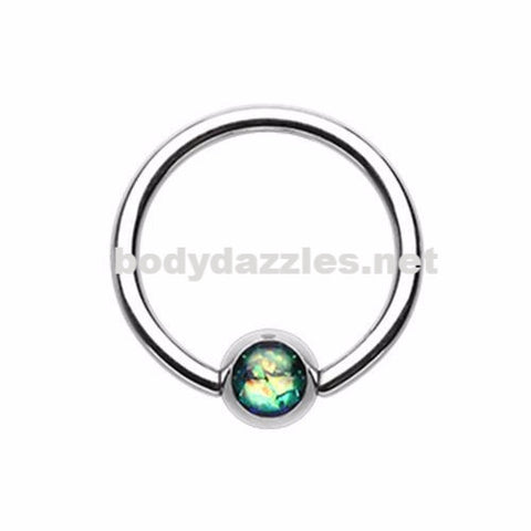 Dark Green Synthetic Opal Ball Steel Captive Bead Ring 16ga Cartilage Tragus Daith Helix Rook