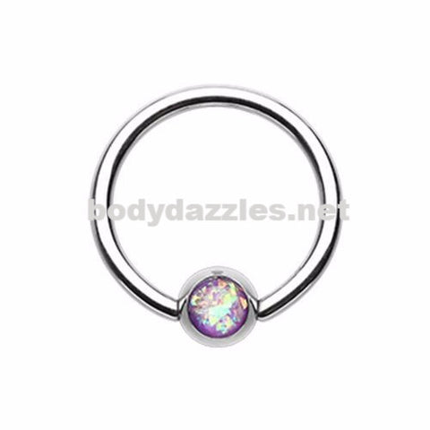 Purple Synthetic Opal Ball Steel Captive Bead Ring 16ga Cartilage Tragus Daith Helix Rook