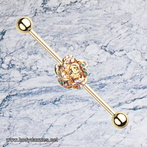 Golden Gleam Rose Blossom Industrial Barbell 14ga Scaffold Bar 316L Surgical Stainless Steel - BodyDazzle - 1