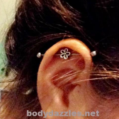 Cute Tiny Silver Flower Industrial barbell  14ga Surgical Steel Ear Barbell