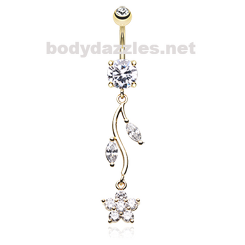 Golden Romantic Flower Belly Button Ring Navel Ring 14ga Surgical Steel