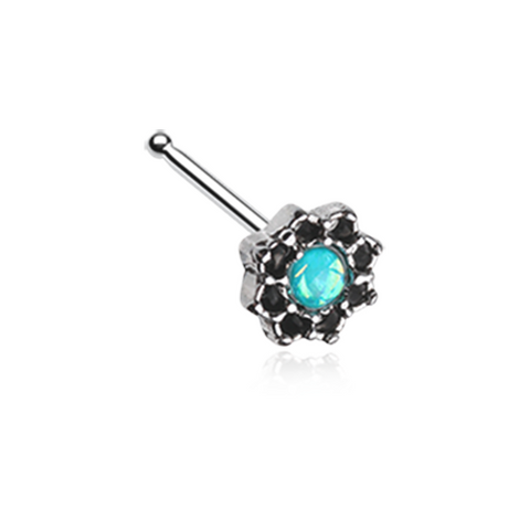 Silver Lotus Opal Sparkle Filigree Nose Stud Ring 20ga Surgical Steel Body Jewelry - BodyDazzle