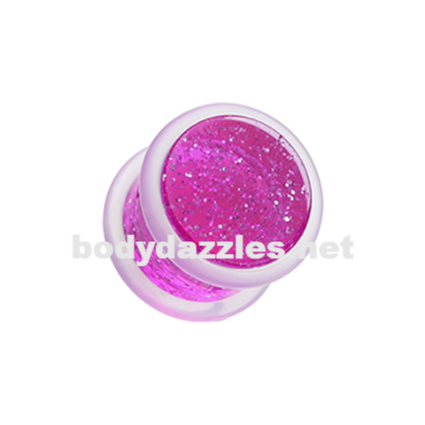 Pair Of Pink Glitter Shimmer Acrylic Ear Gauge Plug Body Jewelry - BodyDazzle