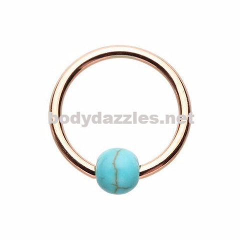 Rose Gold Synthetic Turquoise Bead Captive Ring 16ga Cartilage Tragus Daith Helix Rook