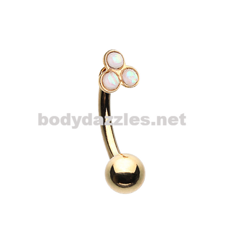 Gold Triple Opal Cluster Curved Barbell Eyebrow Ring 16ga Daith Rook Ring