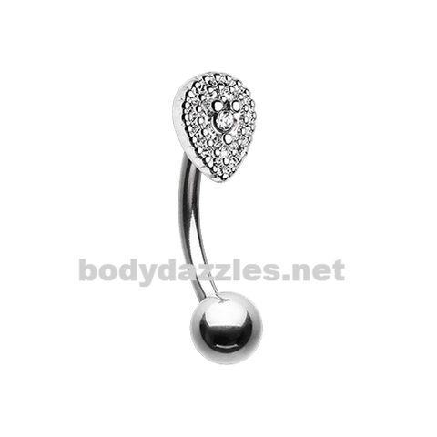 Sparkle Teardrop Curved Barbell Eyebrow Ring 16ga Daith Rook Ring