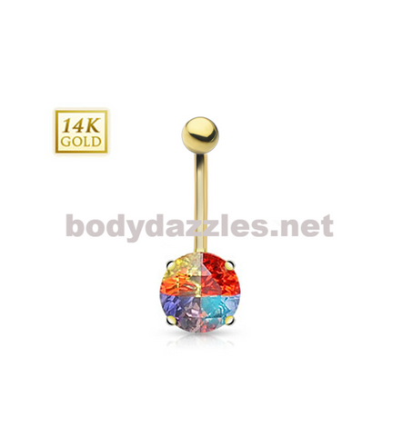 14 Karat Multi-Colored Round Prong Set Miracle Gem with 14 Karat Solid Yellow Gold Navel Ring 14ga - BodyDazzles