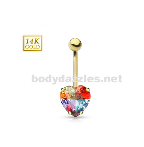 14 Karat Heart  Round Prong Set Miracle Gem with Solid Yellow Gold Multi-Colored Navel Ring 14ga