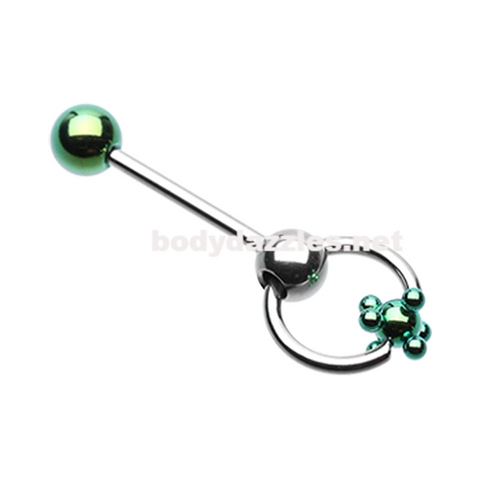 Green Studded Ball Slave Barbell Ring Tongue Ring  14ga Surgical Steel - BodyDazzle