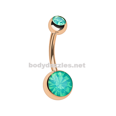 Rose Gold Green Opalite Double Gem Ball Steel Belly Button Ring 14ga Navel Ring Surgical Steel Body Jewelry