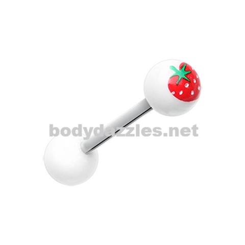 Strawberry Acrylic Top Barbell Tongue Ring 14ga Surgical Steel