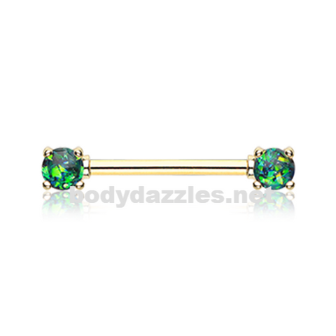 Pair of Golden Green Opal Glitter Prong Steel Nipple Barbell Nipple Ring