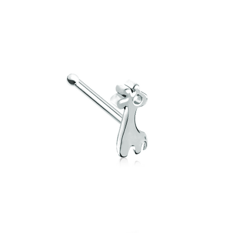 Baby Giraffe Silver Nose Stud Ring Nose Bone 20ga Body Jewelry - BodyDazzle