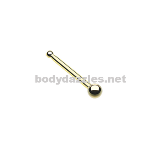 Gold Round Steel Ball Top Basic Steel Nose Stud Ring 20ga Body Jewelry