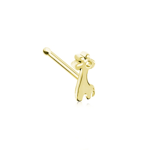 Baby Giraffe Golden Nose Stud Ring Nose Bone 20ga Body Jewelry - BodyDazzle