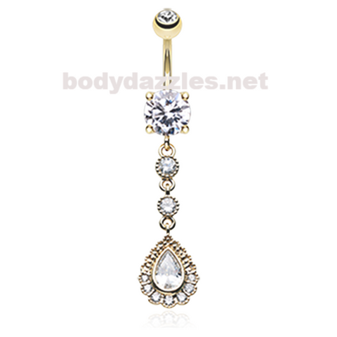 Golden Angelic Gem Cascading Belly Button Ring Navel Ring 14ga Surgical Steel