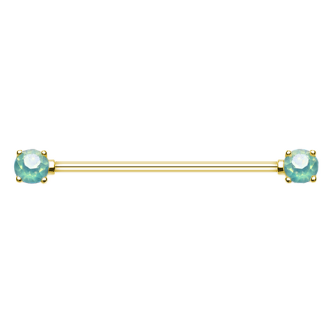 Golden Double Prong Green Opal Gem Industrial Barbell 14ga Surgical Stainless Body Jewelry - BodyDazzle
