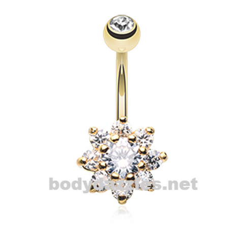 Golden Spring Flower Belly Button Ring Stainless Steel Body Jewelry - BodyDazzle