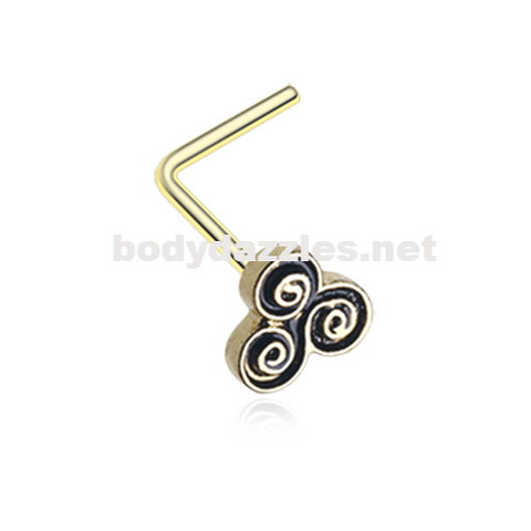 Golden Trilogy Filigree Icon L-Shaped Nose Ring 20ga Body Jewelry - BodyDazzle