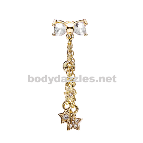 Gold Reversible Drop Down CZ Bow Stars Belly Button Ring Stainless Steel Body Jewelry - BodyDazzle