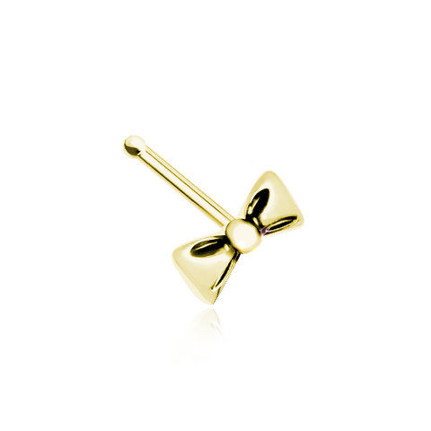 Golden Bow Nose Stud Ring Nose Bone 20ga Body Jewelry - BodyDazzle