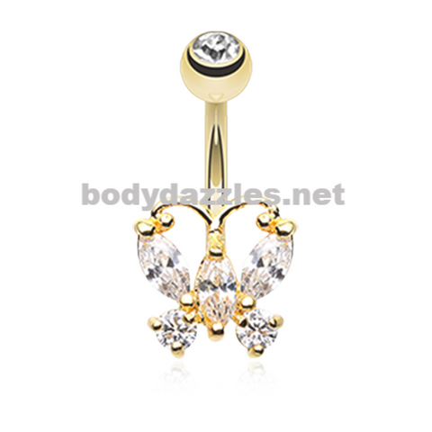Golden Rhinestone Butterfly Belly Button Ring Stainless Steel Body Jewelry - BodyDazzle